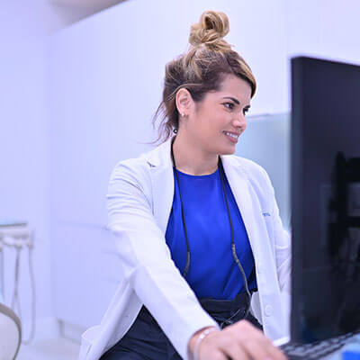 Dr working on computer